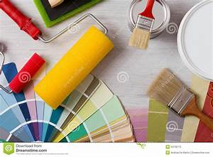 Decorator's Work Table With Tools Stock Image - Image