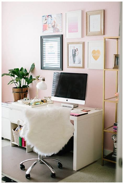cute office love the light pink walls home office ideas