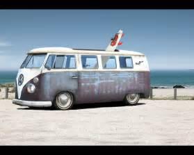 Vintage VW Van Beach Background