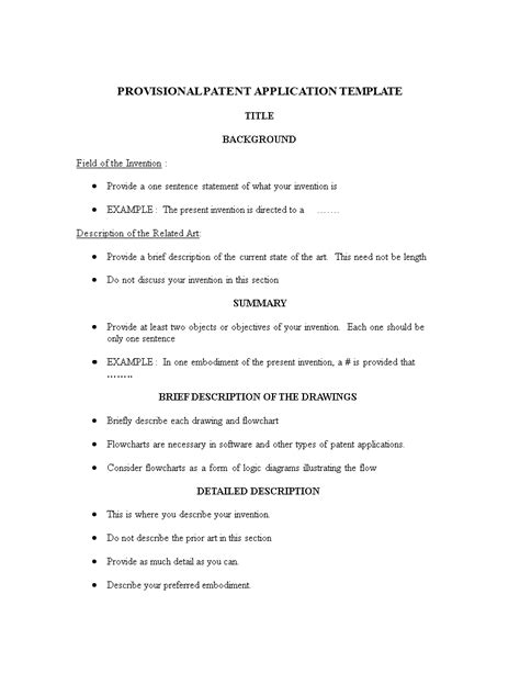 provisional patent application template free provisional patent application template templates at allbusinesstemplates