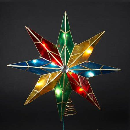 christmas tree topper star lighted 15 quot lighted capiz poinsettia tree topper clear lights walmart