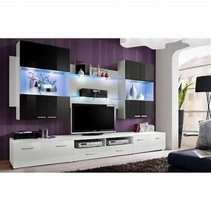 Meuble Salon Noir : meuble salon noir et blanc achat vente pas cher ~ Teatrodelosmanantiales.com Idées de Décoration