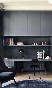 #study office ideas 38 Modern Dark Office Interior Design ...