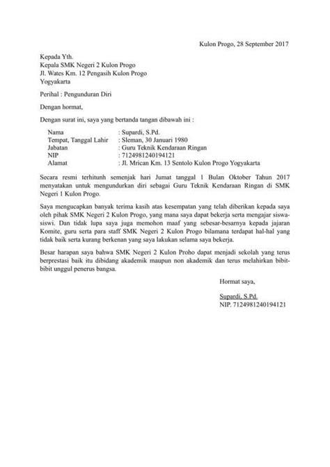 Surat Izin Sekolah Simpel by 12 Contoh Surat Pengunduran Diri Resign Bagus Dan Halus