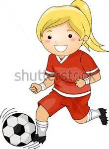 Girls Playing Soccer Clip Art