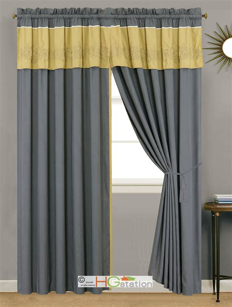 grey and yellow valance 4 pc floral scroll damask embroidery curtain set gray
