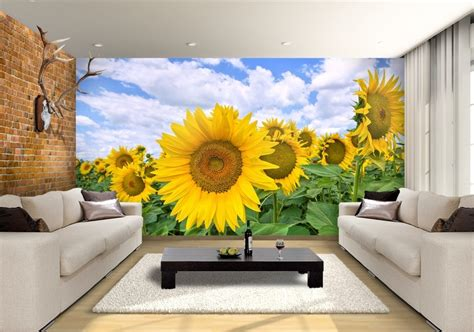 sunflower field custom wallpaper mural print  jw