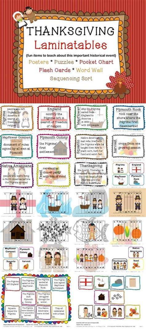 pocket charts comprehension and thanksgiving on