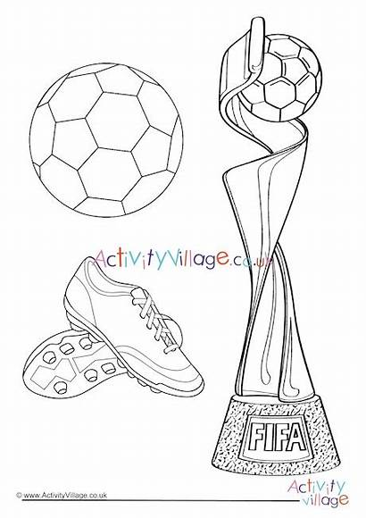 Colouring Trophy Cup Pages Soccer Football Colour