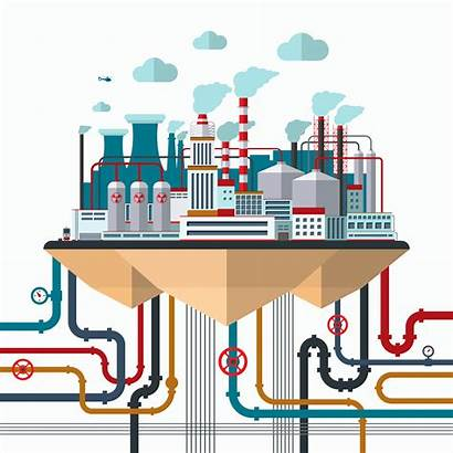 Flat Industrial Factory Nature Manufacturing Pollution Vector