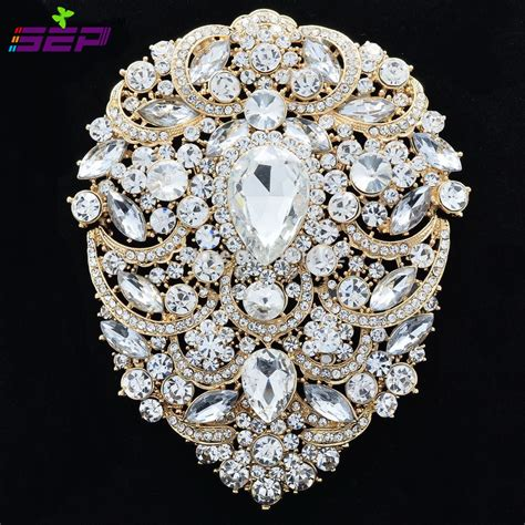 large brooch pins bridal wedding jewelry  inches
