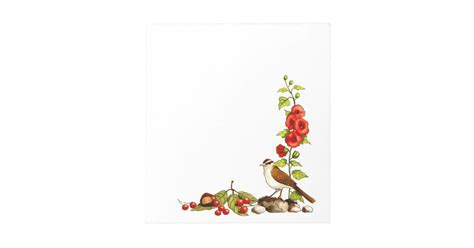 hand drawn flowers bird berries nature border notepad