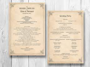 order of wedding reception retro wedding program order of service by designedwithamore