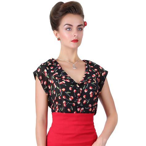 50s blouse collectif violet sheer chiffon cherry print vintage retro