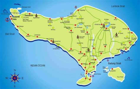 travel maps  bali showing mountains towns  places