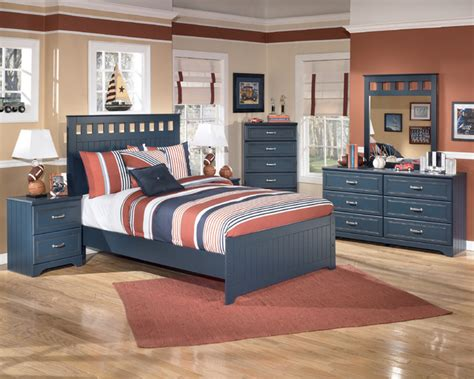 signature designs  ashley leo blue panel bed set contemporary kids bedroom furniture sets