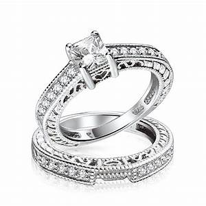 075ct 5mm cz sterling silver wedding engagement ring set for Silver band wedding rings