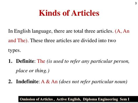 Ommision Of Articles