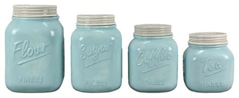 ZallZo   4 Piece Ceramic Mason Jar Canister Set, Blue