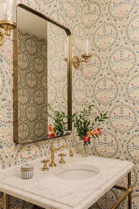marble  brass washstand  brass curved mirror