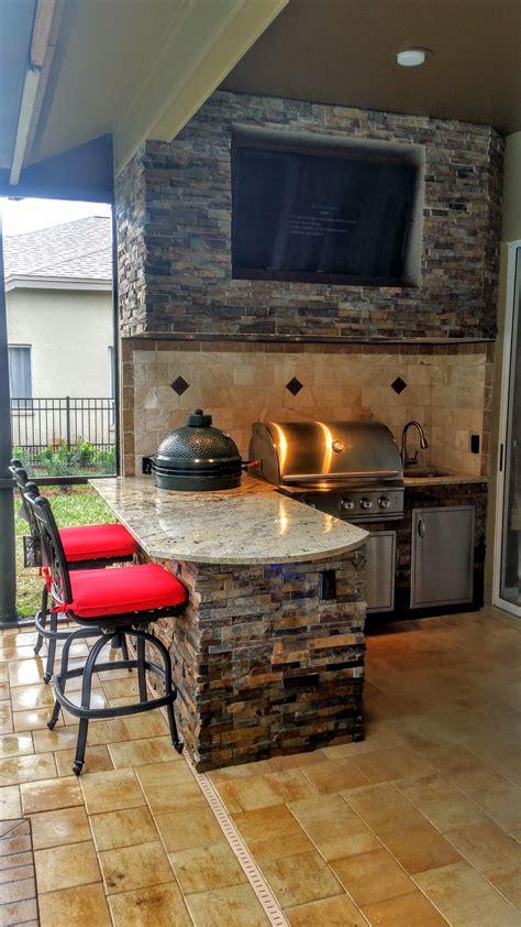 granite  stonework outdoor kitchen  entertainment