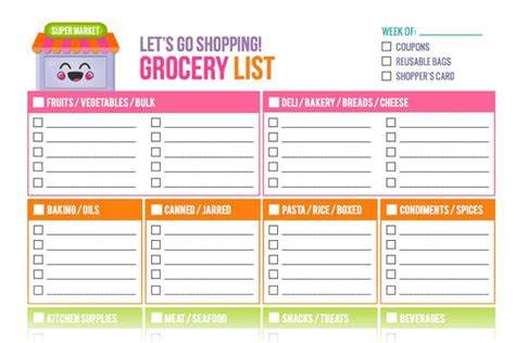 Free Printable Grocery List Templates (+ New Shop Addition
