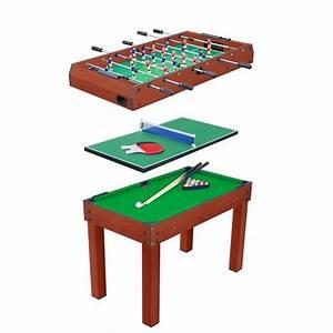 Table Multi Jeux 3 En 1 Billard Baby Foot Et Ping Pong