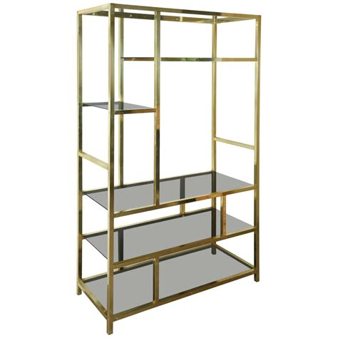 Brass Etagere by Brass And Glass Etagere Attributed To Milo Baughman At 1stdibs