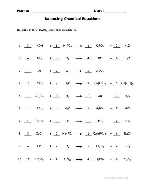 balancing chemical equations practice sheet