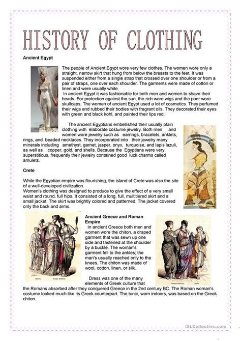 fashion history  clothing worksheet  esl