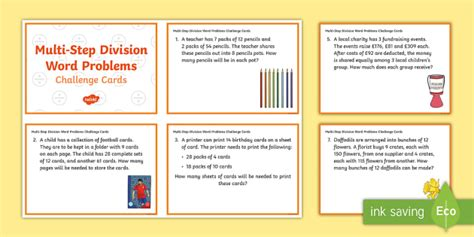 Ks2 Multistep Division Word Problems Maths Challenge Cards  Ks2, Key Stage