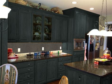 Dark Gray Color Painting Old Oak Kitchen Cabinets With