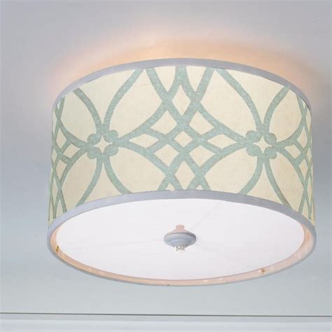 trellis linen drum shade ceiling light drum shade