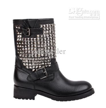 Ash Shine Silver Studded Biker Boot Fashion Genuine
