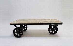 Roue Industrielle Pour Table Basse : table basse industrielle roulettes ~ Nature-et-papiers.com Idées de Décoration