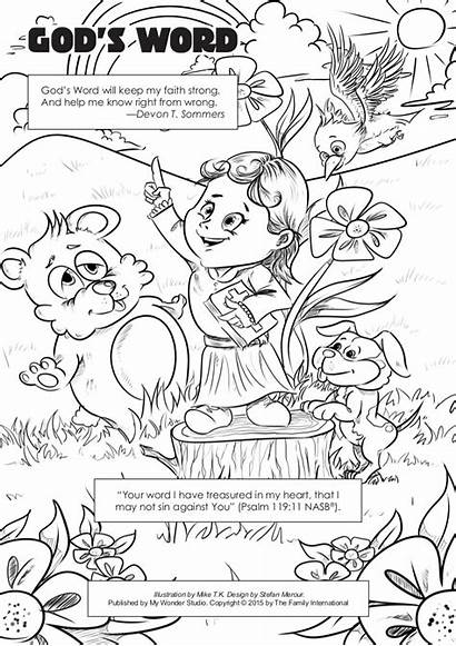 Coloring Word Pages God Sheets Gods Sunday