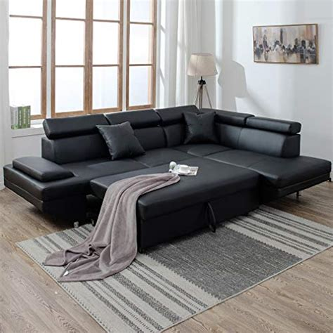 Futon Sectional Sleeper Sofa by 2 Pcs Black Sleeper Sectional Futon Sofa Faux Leather