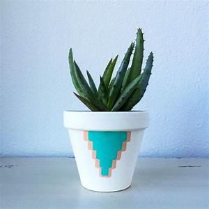 Pot A Cactus : 4 terra cotta cactus pot hand painted aquamarine ~ Farleysfitness.com Idées de Décoration