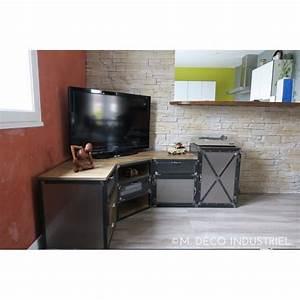 Meuble tv d39angle industriel en acier et pin massif m for Deco cuisine pour meuble tv angle