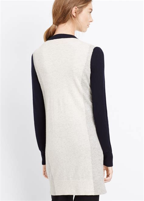 Lyst Vince Colorblock Cashmere Cardigan In Blue