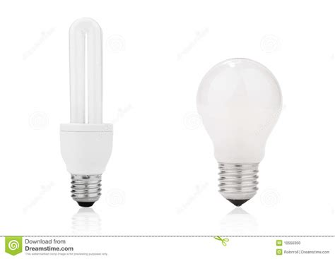 lightbulb and fluorescent energy saving l stock photo
