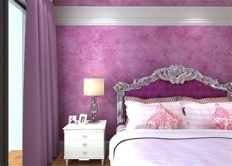purple wallpaper rendering with purple curtains and bed