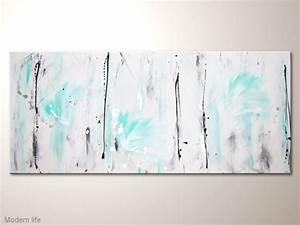 Wandbilder Grau Weiss : grosses abstraktes leinwandbild modern life 140x60cm mit t rkis und wei acrylbilder modern ~ Sanjose-hotels-ca.com Haus und Dekorationen