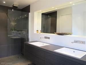 salle de bain contemporaine meuble vasque en bois douche With meuble salle de bain italienne
