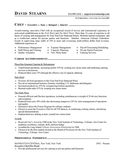 Resume For Chef by Chef Resume Free Sle Culinary Resume