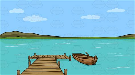 Boat On Lake Clipart a wooden dock on a lake background clipart