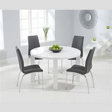Atlanta 120cm Round White High Gloss Dining Table With