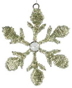 beaded snowflake traditional christmas ornaments other metro by golden hill studio