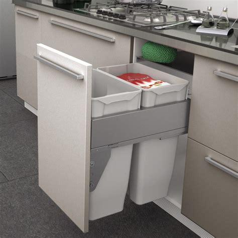 poubelle tri selectif cuisine poubelle coulissante 2 bacs 70 litres