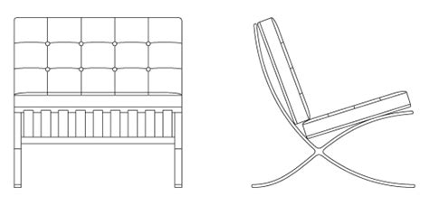Poltrona Barcelona Cad : Barcelona® Chair